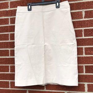 Gap Khaki Cream Stretch Pencil Skirt Side Zipper 8